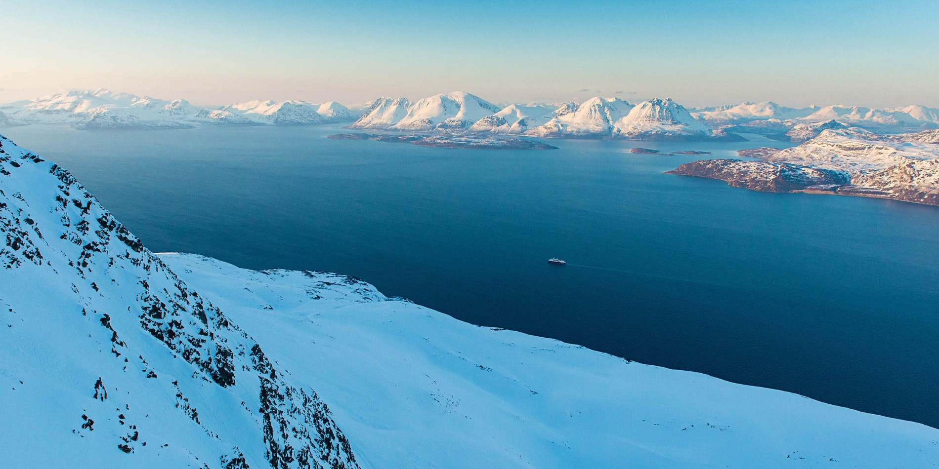 Hurtigruten sailing in winter in Norway