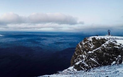 Pay a visit to the iconic North Cape plateau in northern Norway, pictured in winter