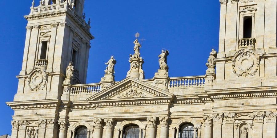 Facade of Lugo Cathedral in Santiago de Compostela.