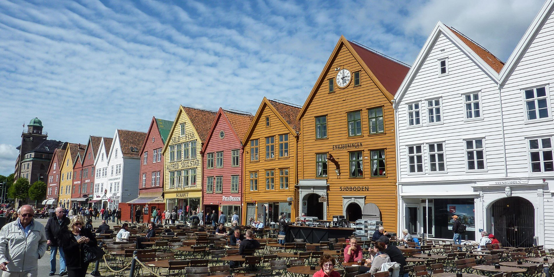 A group of people in front of Bryggen