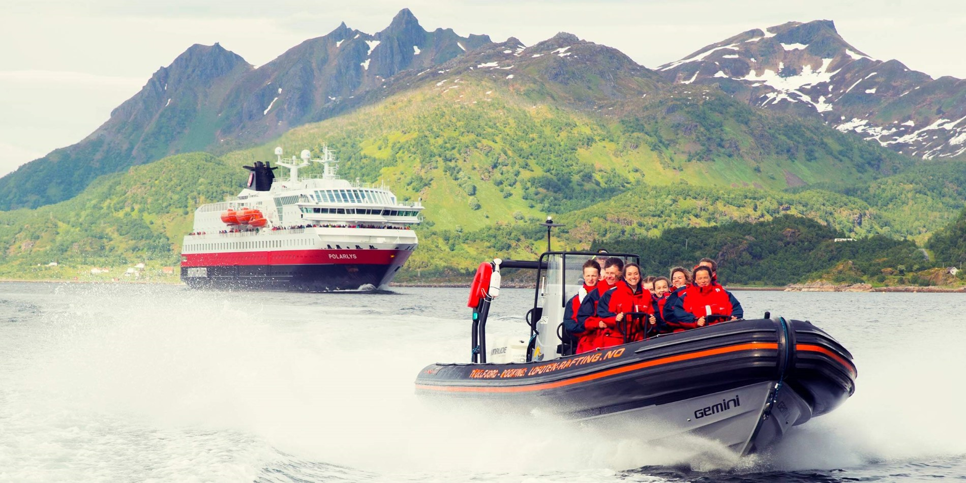 RIB tour with Hurtigruten behind