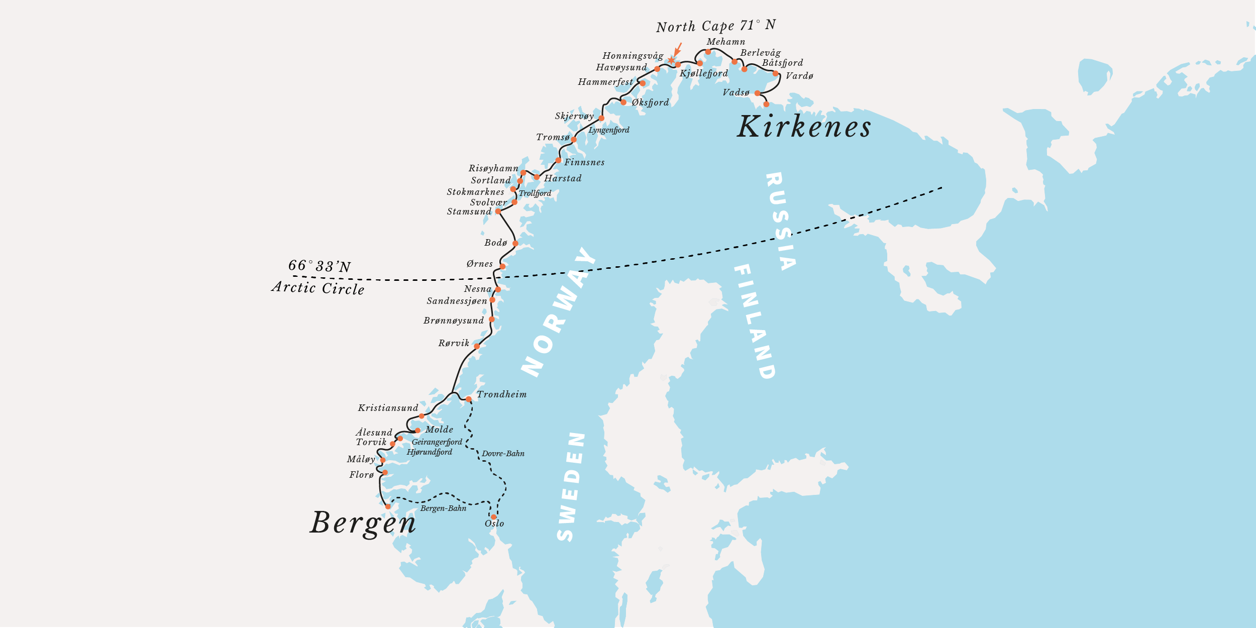 Hurtigruten Cruises Norwegian Fjords Northern Lights The - Antarctica cities map