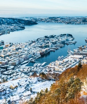 View of Bergen from Mount Fløyen in winter.