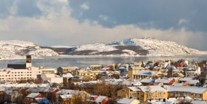 Kirkenes, at 30° East, is further east than Istanbul and St. Petersburg.