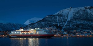 Arriving in Tromsø at night.