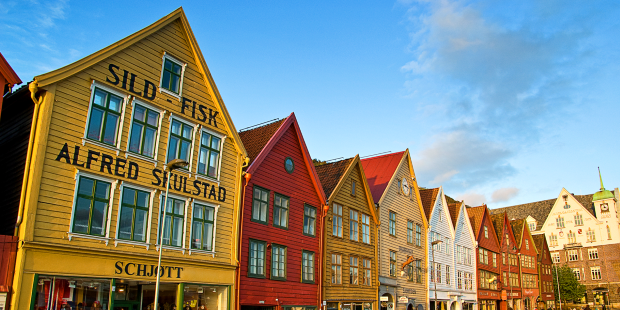 The colorful wood structures that make up the Bryggen district along Bergen's harbor.