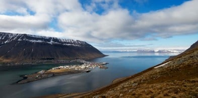 Views of the beautiful, natural harbor of Ísafjörður.
