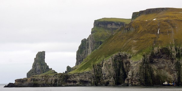 Bjørnøya is an isolated spot in the middle of the Arctic Ocean, known for its sea birds.