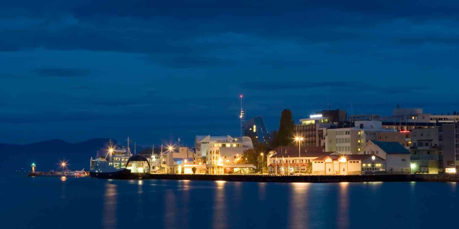The port of Molde by night