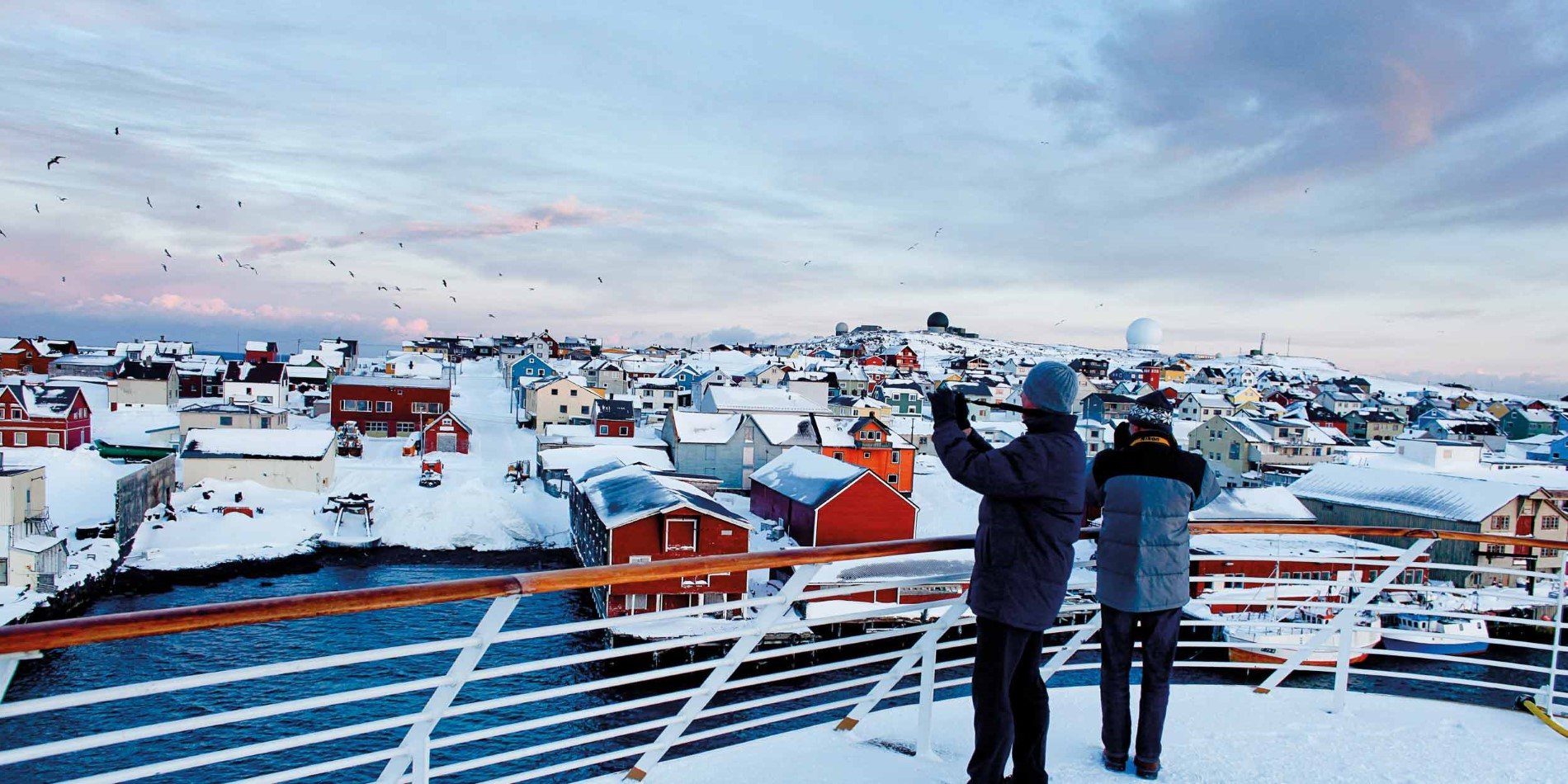 Vardø seen from out on deck, winter