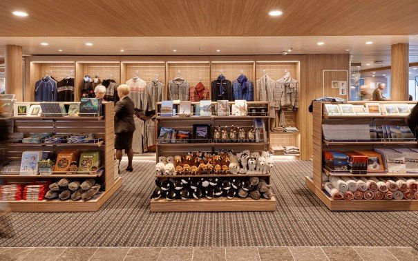 Spend time browsing the store on the newly refurbished MS Kong Harald.
