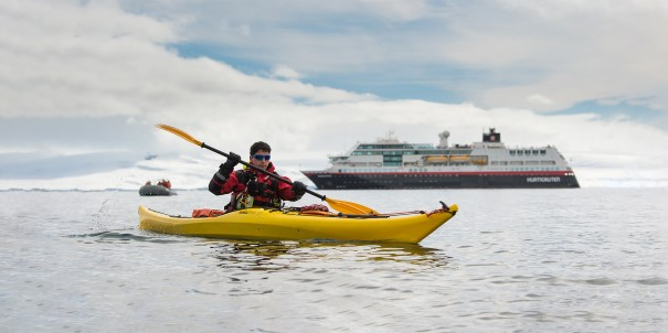 Jump in a kayak straight from MS Midnatsol and get close to nature and wildlife with our skilled instructors.