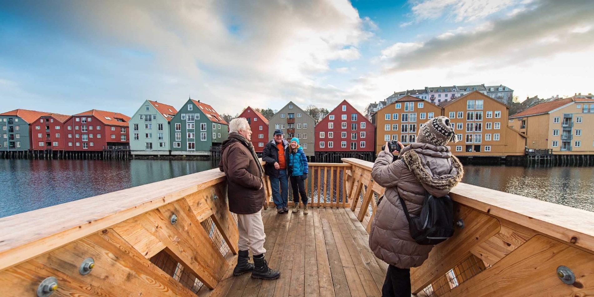 Old storehouses along Nidelva, the river in Trondheim