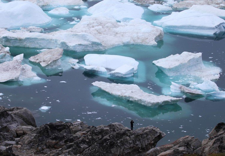 Icy waters in Kangerlussuaq, Greenland.