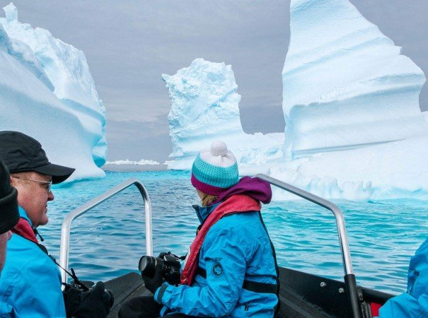 Drifting through icebergs in small boats. The expedition team will seize opportunities to take you close to the elements, in the footsteps of the great explorers.