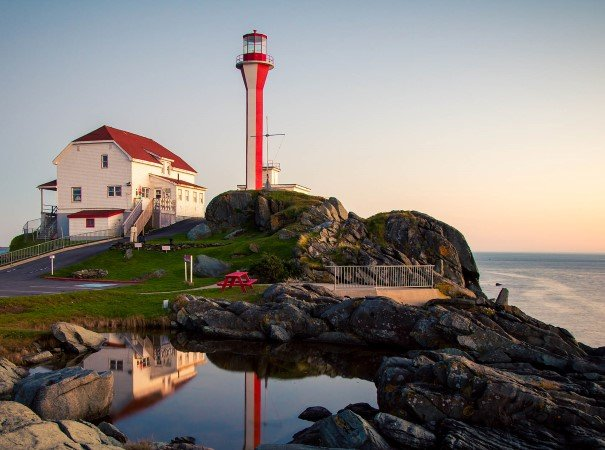 The historic Cape Forchu Lighthouse has welcomed visitors to Nova Scotia for over 175 years.